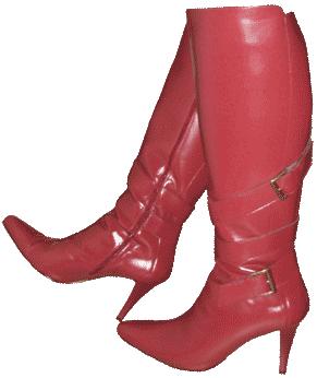 Raude støvlettar med høge stiletthælar