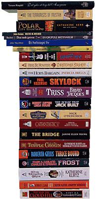 Stabelen med bøker eg har kjøpt til kilopris